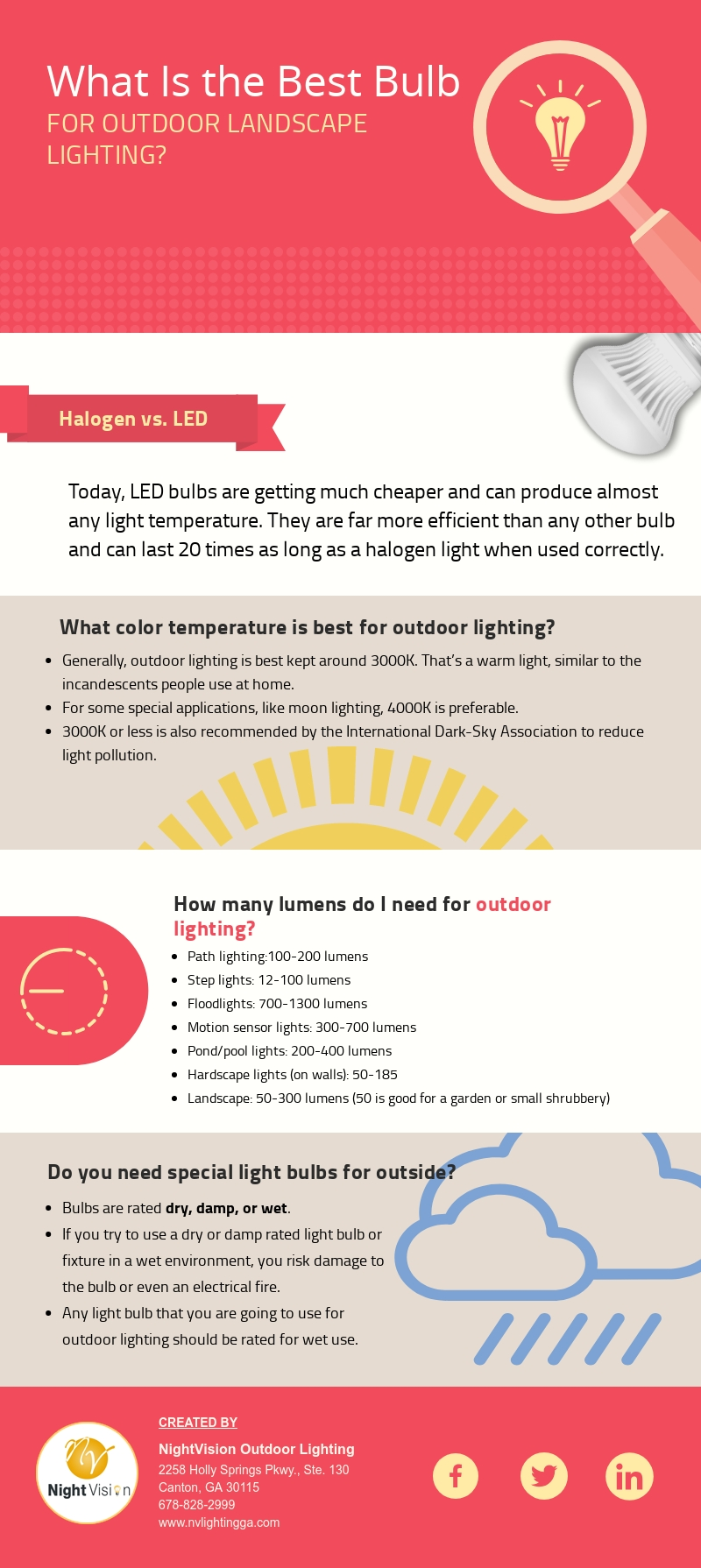 What Is the Best Bulb for Outdoor Landscape Lighting? [infographic]